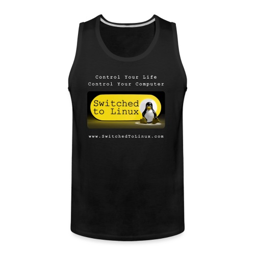 Switched To Linux Logo and White Text - Men's Premium Tank