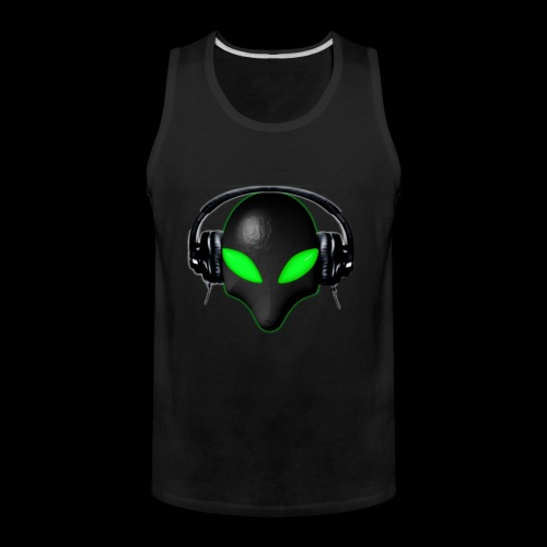 Alien Bug Face Green Eyes in DJ Headphones - Men's Premium Tank