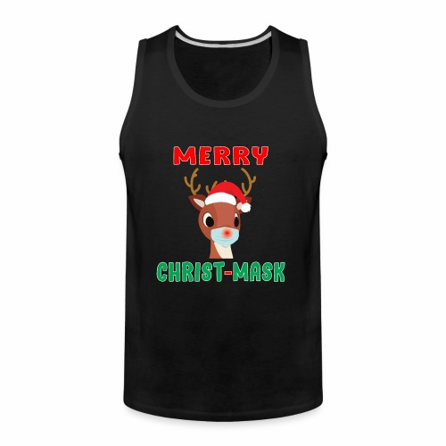 Merry Christmask Rudolph Red Nose Mask Reindeer. - Men's Premium Tank