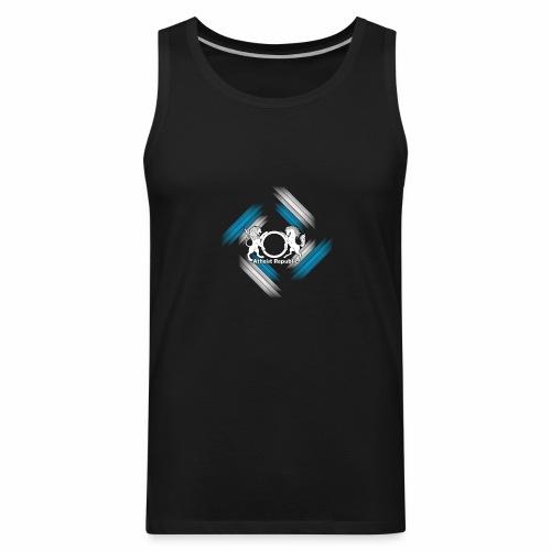 Atheist Republic Logo - Blue & White Stripes - Men's Premium Tank