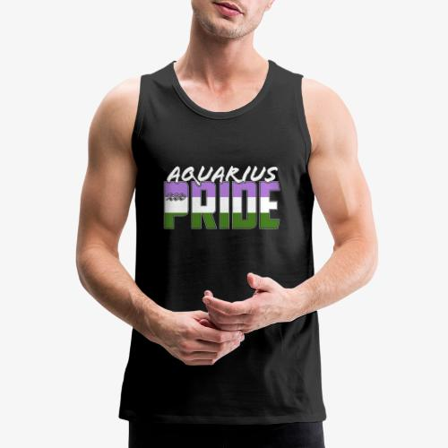 Aquarius Genderqueer Pride Flag Zodiac Sign - Men's Premium Tank