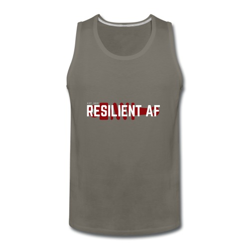 RESILIENT WHITE with red - Men's Premium Tank