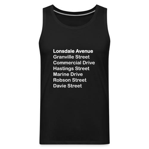 Street Names White Text - Men's Premium Tank