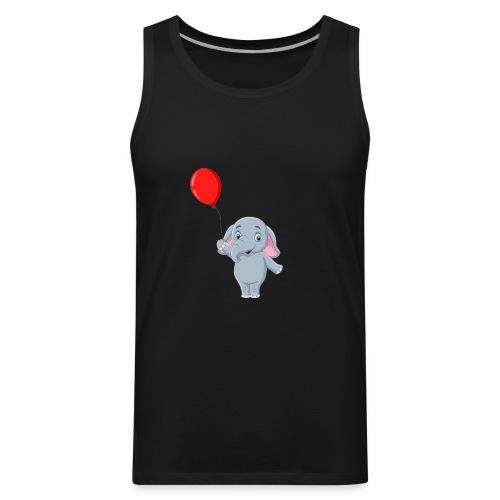 Baby Elephant Holding A Balloon - Men's Premium Tank