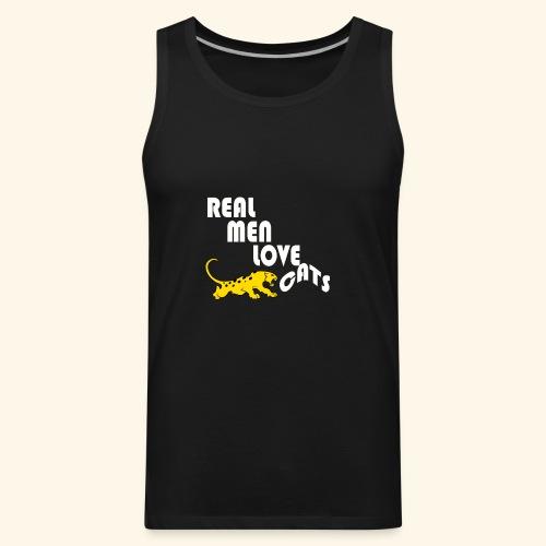 Real Men Love Cats T-Shirt for cat people tee - Men's Premium Tank