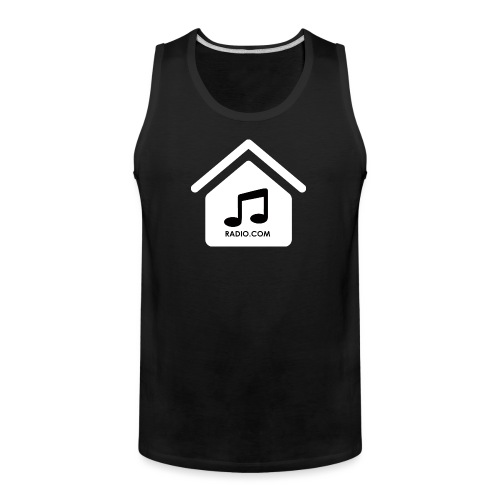 House Music Radio White black font no out line.png - Men's Premium Tank