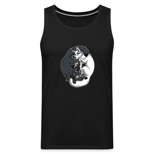 Yin Yang Foxes (white border) - Men's Premium Tank