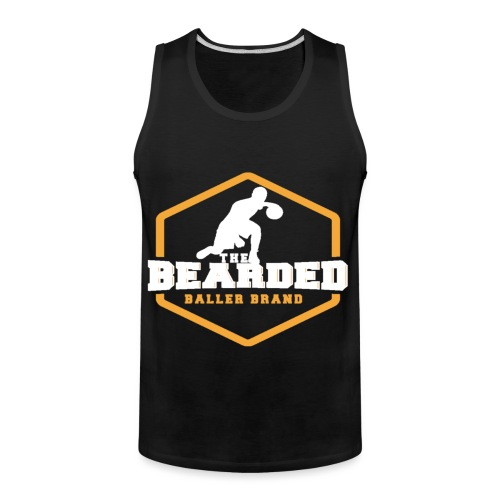 The Bearded Baller Brand White and Gold - Men's Premium Tank