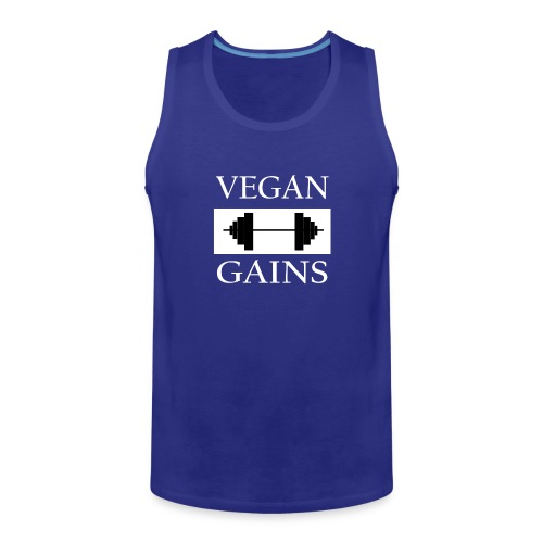 Vegan Gains white font - Men's Premium Tank