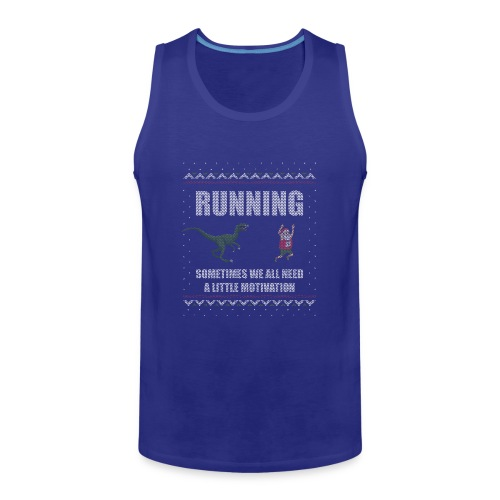 Ugly Christmas Sweater Running Dino and Santa - Men's Premium Tank