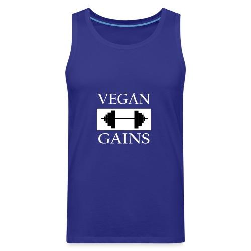 Vegan Gains white font - Men's Premium Tank