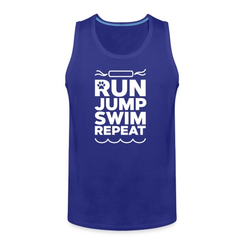 Run Jump Swim Repeat - white imprint - Men's Premium Tank