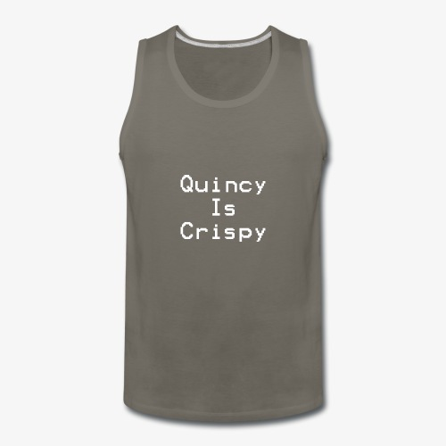 QuincyIsCrispy Text Logo (White) - Men's Premium Tank