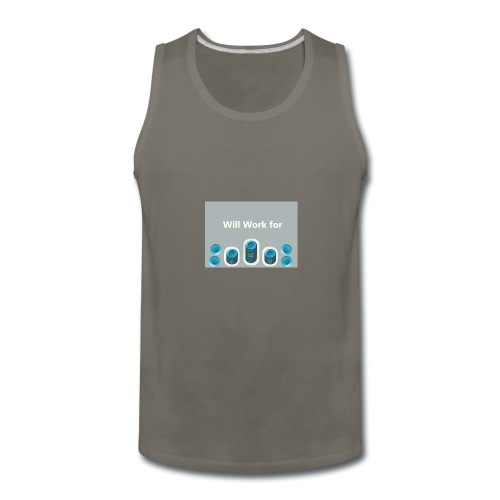Will_work_for_buttons - Men's Premium Tank