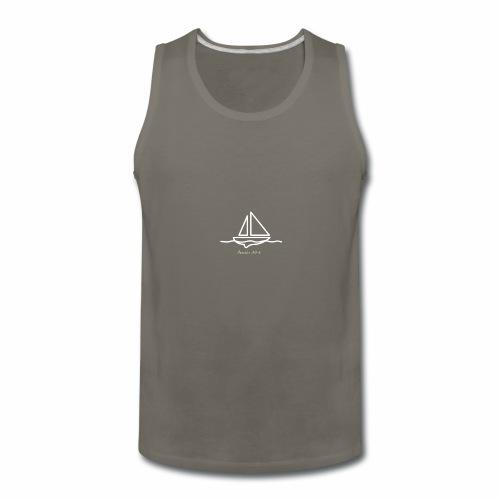 Sailboat logo, Proverbs 3:5-6 white 1 - Men's Premium Tank