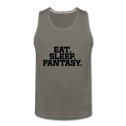 Eat. Sleep. Fantasy. (Turquoise & Metallic Gold) - Men's Premium Tank
