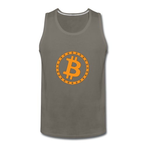Bitcoin with star ring - Men's Premium Tank