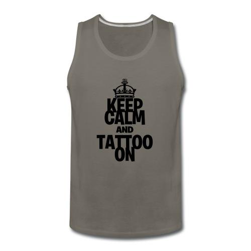 Keep Calm and Tattoo On vector - Men's Premium Tank
