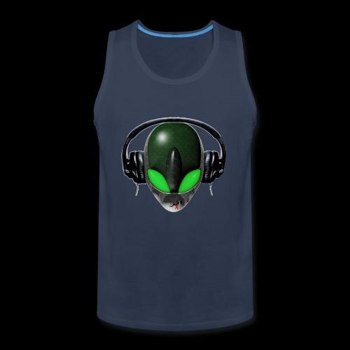Reptoid Green Alien Face DJ Music Lover - Friendly - Men's Premium Tank