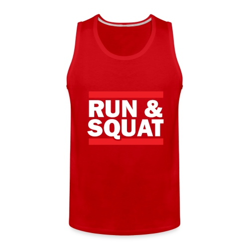 Run Squat White on Dark by Epic Greetings - Men's Premium Tank