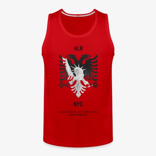 Albanian Born + New York Raised (Black) - Men's Premium Tank