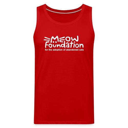 MEOW Foundation White Logo Tagline - Men's Premium Tank