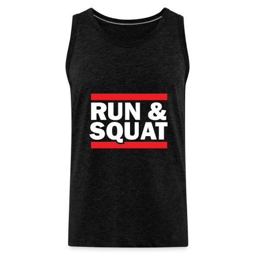 Run Squat White on Dark by Epic Greetings - Men's Premium Tank