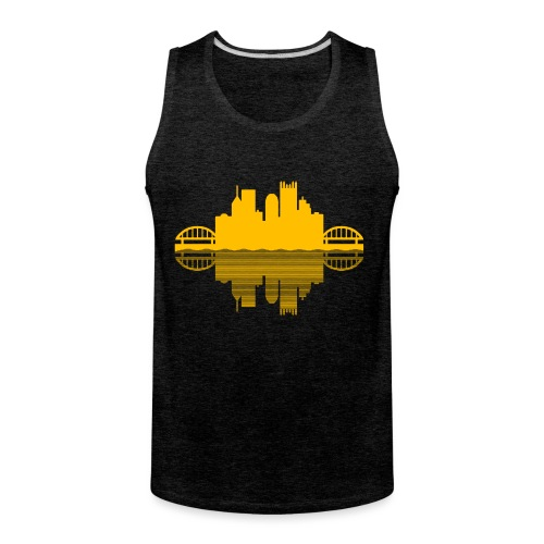 Pittsburgh Skyline Reflection (Gold) - Men's Premium Tank