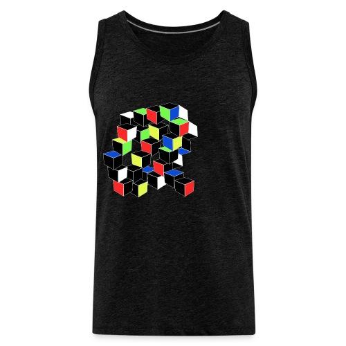 Optical Illusion Shirt - Cubes in 6 colors- Cubist - Men's Premium Tank