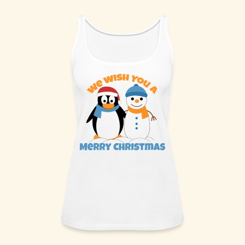 santa penguin with snowman christmas - Women's Premium Tank Top