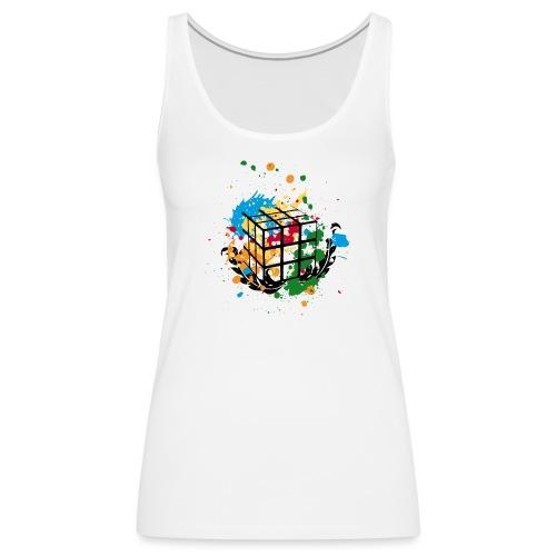 Rubik's Cube Colourful Splatters - Women's Premium Tank Top