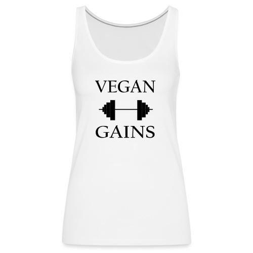 Vegan Gains in black font - Women's Premium Tank Top