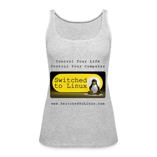 Switched to Linux Logo with Black Text - Women's Premium Tank Top