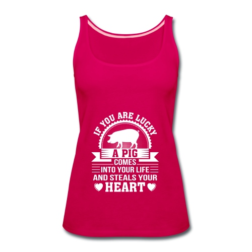 Mini Pig Comes Your Life Steals Heart - Women's Premium Tank Top