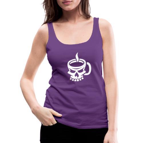 Caffeinated Coffee Skull - Women's Premium Tank Top