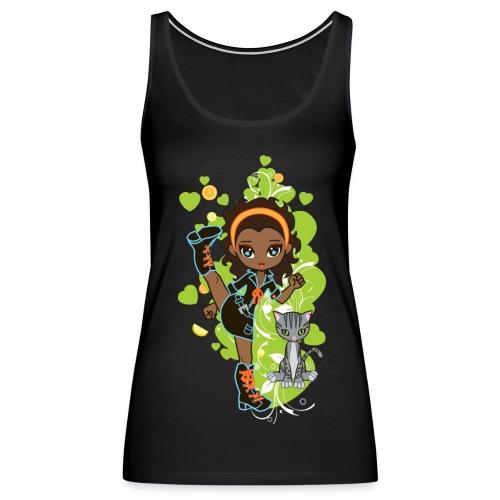 Aisha the African American Chibi Girl - Women's Premium Tank Top