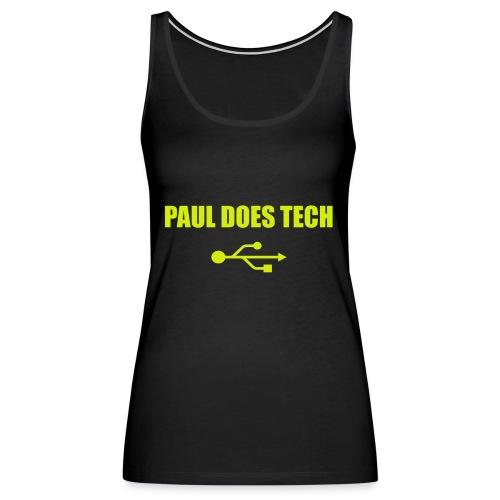 Paul Does Tech Yellow Logo With USB (MERCH) - Women's Premium Tank Top