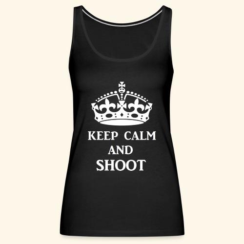 keep calm shoot wht - Women's Premium Tank Top