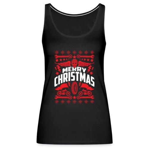 Biker Ugly Christmas Sweater - Women's Premium Tank Top