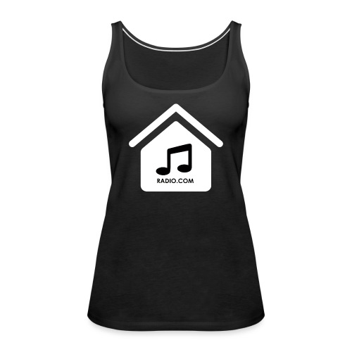 House Music Radio White black font no out line.png - Women's Premium Tank Top