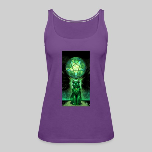 Green Satanic Cat and Pentagram Stained Glass - Women's Premium Tank Top
