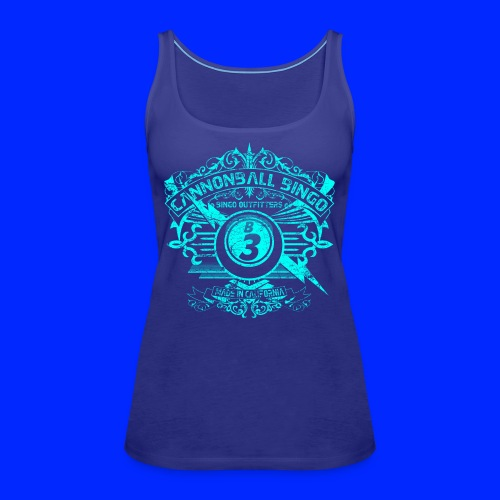 Vintage Cannonball Bingo Crest Bright Blue - Women's Premium Tank Top