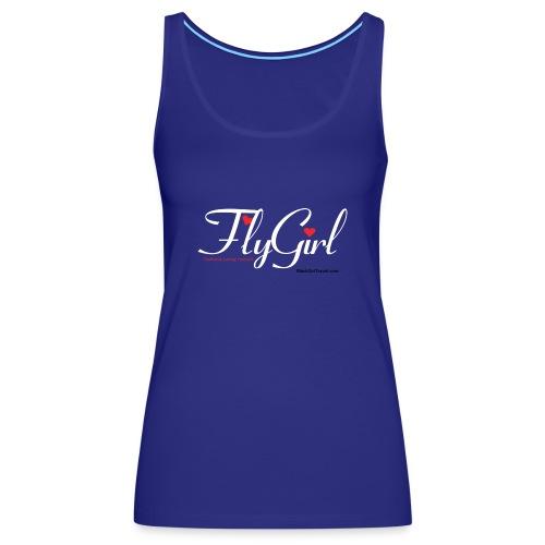FlyGirlTextWhite W Black png - Women's Premium Tank Top