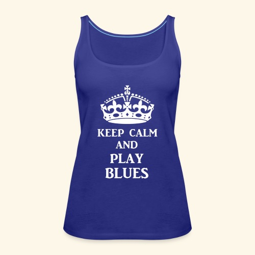 keep calm play blues wht - Women's Premium Tank Top