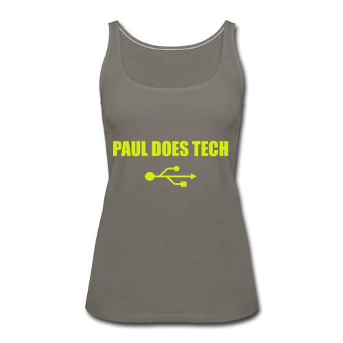 Paul Does Tech Yellow Logo With USB (MERCH) - Women's Premium Tank Top