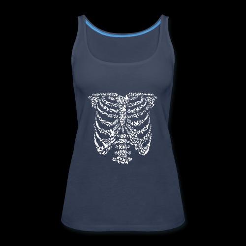 Ribcaged Bird | Halloween Bird Skeleton - Women's Premium Tank Top