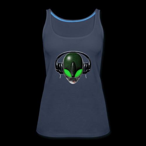 Reptoid Green Alien Face DJ Music Lover - Friendly - Women's Premium Tank Top