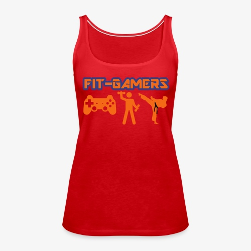 FIT-GAMERS Logo w/ Icons - Women's Premium Tank Top