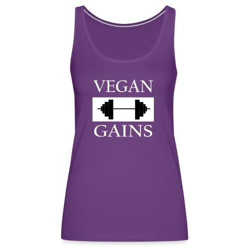 Vegan Gains white font - Women's Premium Tank Top