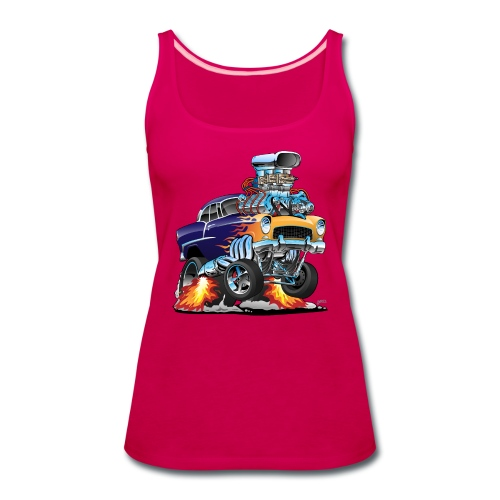 Classic Fifties Hot Rod Muscle Car Cartoon - Women's Premium Tank Top